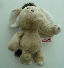 R6- DOUDOU PELUCHE NICI ELEPHANT BEIGE BLANC ECRU MARRON 20cm billes - TTBE