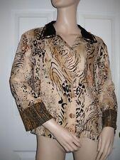 Ku De Ta Rayon Sequined Beaded 3/4 Sleeve Animal Print Blouse Size M