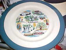 """Vintage ALABAMA STATE Plate 10-3/4"""" ~EXCELLENT COND~~AL~LANDMARKS~HISTORY INFO~"""