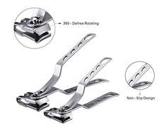 S+M 2pcs Stainless Steel 360° Rotary Finger Toe Nail Clipper fingernail Cutter