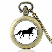 Horse Retro Antique Pocket Watch Quartz Movement Vintage Chain Necklace Pendant