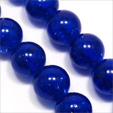 Lot de 20 Perles Craquelées en Verre 10mm Bleu foncé