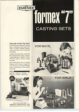 1964 PAPER AD Emenee Formex Toy Soldier Casting Machine Buddy L Pick Up Truck