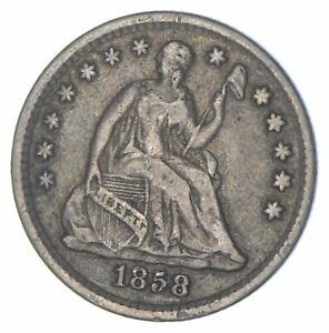 5c **1/2 Dime HALF** 1858 Seated Liberty Half Dime Early American Type Coin *310