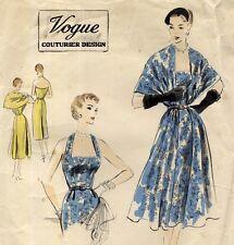 ORIGINAL 1950's Vintage Vogue Couturier Halter Dress Cape Stole Sewing Pattern