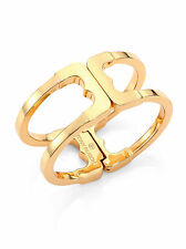 Auth Tory Burch Gemini Link Hinge Cuff Bracelet 16k Gold with Dust Cover