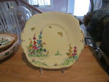 """CROWN STAFFORDSHIRE Hollyhock 9"""" Square Cake Plate"""