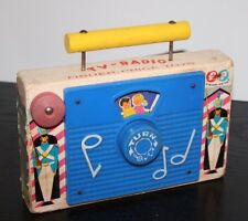 Fisher Price Vintage Music Box TV Radio 1962 Wood Wind Up Toy Jack And Jill 148