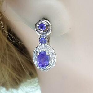 2.75ctw Tanzanite & Diamond Cut White Sapphire 925 Sterling Silver Earrings 4.7g