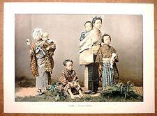 JAPON  Groupe d'enfants - Photochromie fin 19ème  Gravure