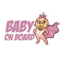 Cool Pink Baby Girl On Board Super Hero Wear Cape Car Sticker Window Cute Decal