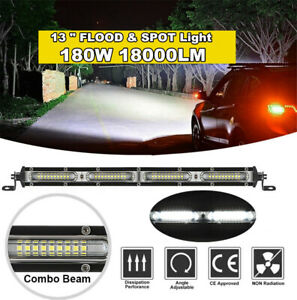 "13"" 18000LM Straight Single Row Led Light Bar Spot Flood Combo Beam Work Light"