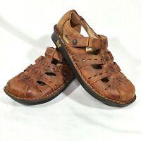 Alegria Womens Pesca Tawny Leather Fisherman Sandals Wedge Shoe Sz 38/ US 8-8.5