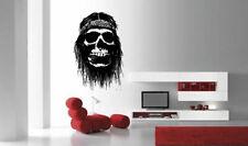 Wall Vinyl Sticker Room Decals Mural Design Art Pirate Scull Long Hair  bo130