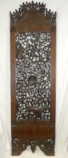 """Antique High-Relief CARVED PALACE PANEL. Peacock, Elephant, Warriors. 81""""T.1850"""