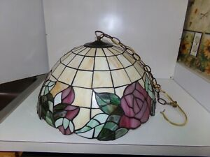 """Tiffany Reproduction Large Ceiling Lamp 20""""x 12"""" Stained Glass Shade Made in USA"""