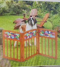 Pet Gate Safety For Indoor Outdoor Stained Colorful Design Freestanding Wooden