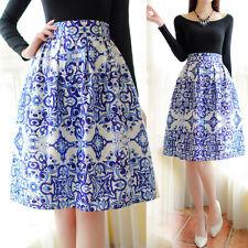 Lady Vintage Blue&White Porcelain Zipper Elastic Waist Pleated A-Line Midi Skirt