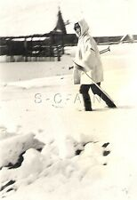 WWII Org Ger Large (2.75 x 4.0) RP- Winter Camouflage- Skis- Helmet- MP-40 SMG