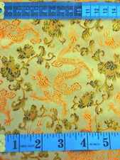 Chinese faux silk brocade fabric material golden tone dragon upholstery metre