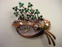 Vintage signed~PENNINO~STERLING SILVER green & white rhinestone flower bouquet
