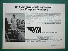 7/1970 PUB UTA AIRLINE TRANSPORT AERIEN DC-8 62 AIRLINER HOTESSE ORIGINAL AD