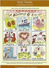 BOTHY THREADS A DICTIONARY OF LOVE COUNTED CROSS STITCH KIT HEART TEA - NEW
