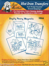 Daylily/Peony #3866 Aunt Martha's Hot Iron Embroidery Transfer Pattern