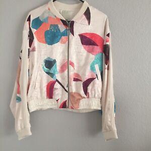 Anthropologie elevenses  Satin Bomber Jacket Full Zip Polyester Cream M