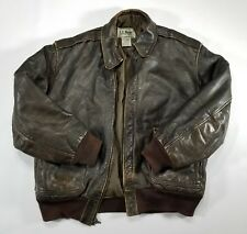 LL Bean Leather Bomber Jacket Mens 42 Brown THINSULATE Tiger A-2 USA VTG A908