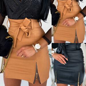 UK Women PU Leather Skirt High Waist Wet Look Zipper Bodycon Mini Dress Clubwear