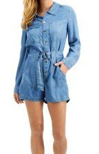 Guess Women's Romper Blue Size Medium M Denim Button Down Belted $128 #062