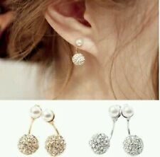 #1148 Double Side Earrings Crystal Ball Silver Plated Simulated Pearl Earrings