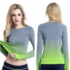 Women Yoga Sports Shirt Ladies Gym Top Fitness Running Long Sleeve T-Shirt Tops