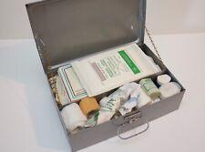 Vintage Industrial Metal First Aid Box bandages plasters film movie prop
