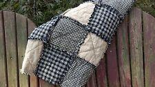 Throw Size Primitive Black & Tan Homespun Rag Quilt Country Farm, Handmade in NJ
