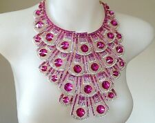 MASSIVE HOT PINK / FUSCHIA Glass Crystal PEACOCK Statement Necklace