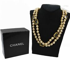 """1981 Chanel Faux Baroque Pearl Chicklet Crystal Gold Tone Sautoir Necklace 65"""""""