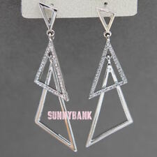 New Fashion Long Women Sliver Crystal Triangle Earrings Dangle Jewellery Party