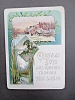 Antique Card CHRISTMAS JOYS Are Ringing Through the Land 1880s Victorian Chromo