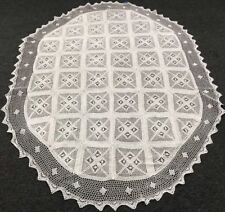 "White 72x90"" Oval 100% Cotton Handmade Crochet Lace Tablecloths Vintage Style"