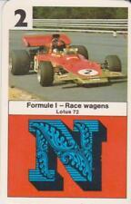 Kwartet kaart / Quartet Card / Spielkarte Formule 1 Race Cars Lotus 72