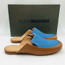 $560 ALEXA WAGNER Pirat Blue Leather Women Mules Shoes 9 M EU 39 UK 6.5 Slippers