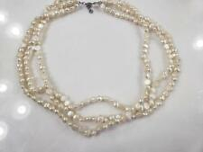 "Vintage Natural Fresh Water Pearls 3 Strands  Necklace 18"" L"