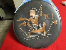 Vintage Egyptian Etched Copper Plate/ Wall Hanging Egypt Pyramids