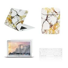 "4 IN 1 Macbook Air 11""Marble White/Gold Matte Case + Keyboard Skin + LCD + Bag"