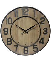 Wine Barrel Wall Clock Large Oversized 24 inches Clock by Infinity Instruments