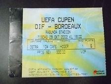 Tickets- 2002 UEFA Cup- DIF v BORDEAUX, 29 Oct