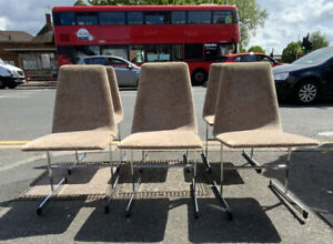 Vintage Mid Century Pieff Lisse Modernist Chrome Dining Chairs By Tim Bates