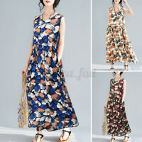 ZANZEA Women Summer Bohemia Sleeveless Sundress Floral Print Oversize Midi Dress